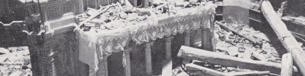 Crollo sull'altare e lavori di ricostruzione